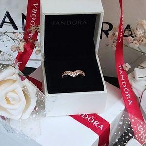 Pandora Rose Princess Wishbone Ring 7.5